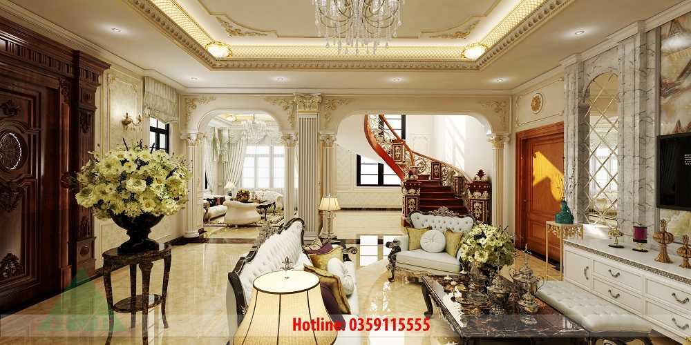 Thiết kế nội thất phòng khách 3D nhà Anh Long Móng Cái