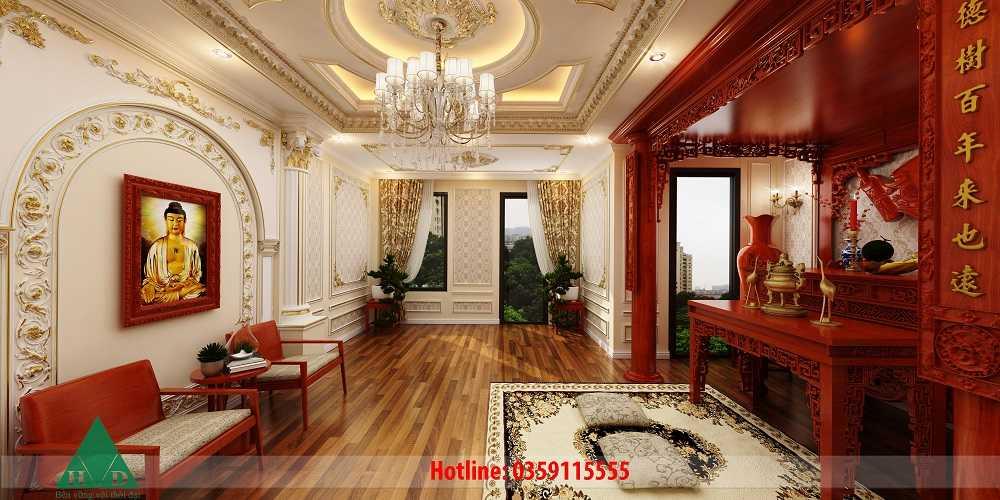 Thiết kế nội thất phòng thờ tầng 5 Nguyễn Chánh