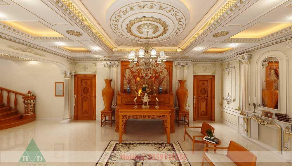 Thiết kế nội thất phòng thờ 3D nhà Anh Long Móng Cái